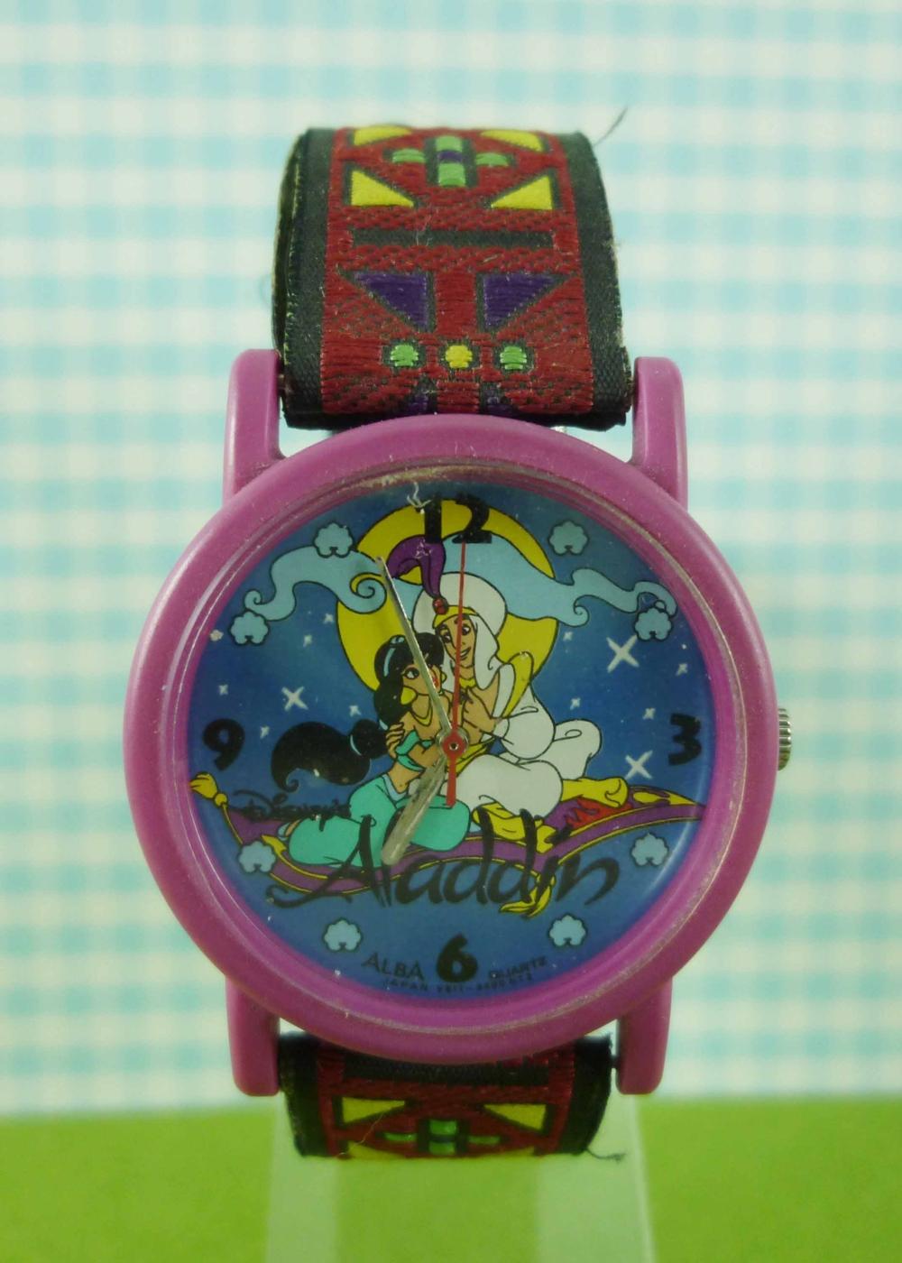 震撼精品百貨】Disney Princess迪士尼阿拉丁茉莉公主~手錶-圓形錶面-紫色外圈-阿拉丁圖案【共1款】