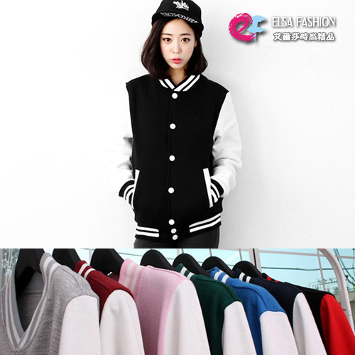 棒球外套休閒運動風加絨保暖併色夾克棒球外套艾爾莎TAK2265