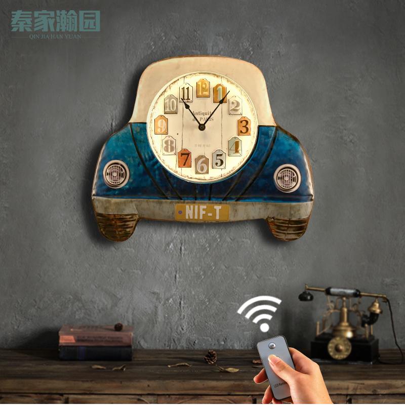 美式復古掛鐘酒吧壁飾墻上裝飾品創意兒童臥室掛飾裝飾靜音掛鐘表喵小姐