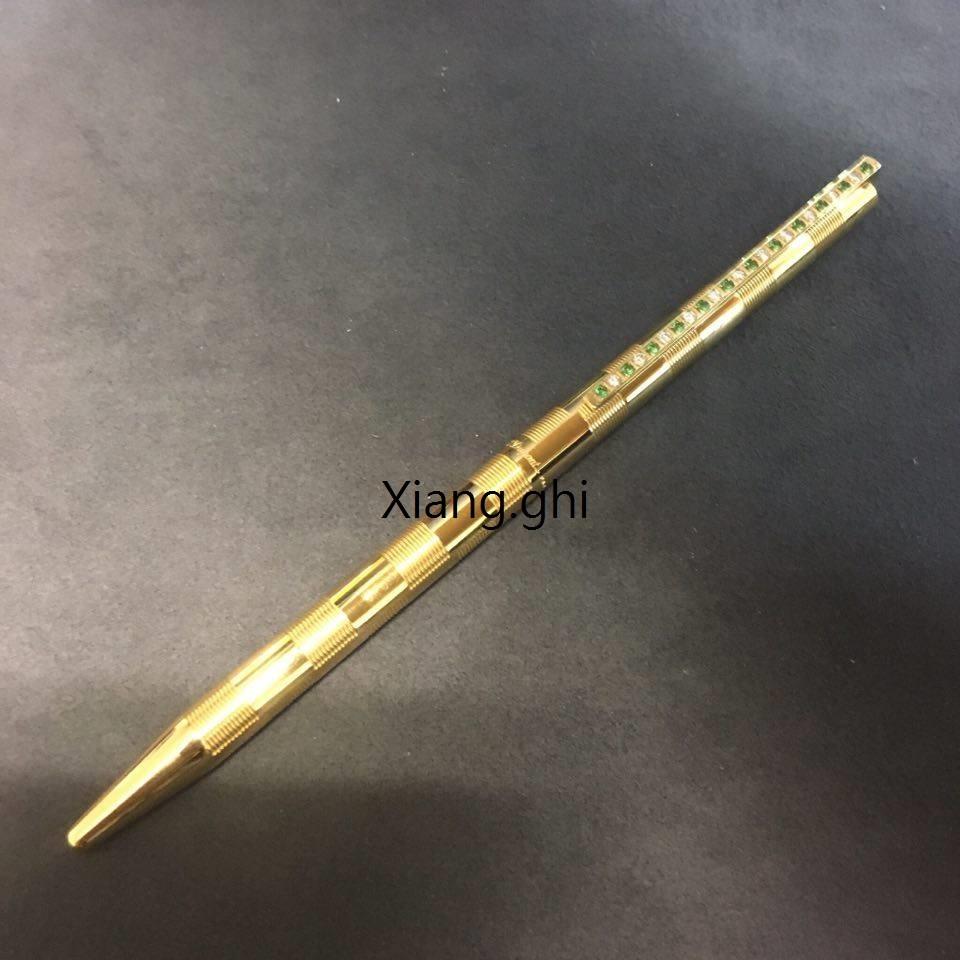 都彭S.T.DUPONT-原子筆-橫旋-淺綠白排鑽