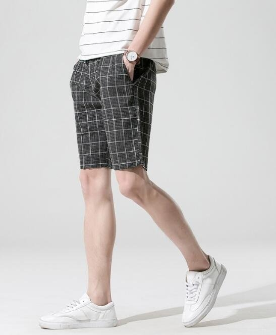 找到自己MD日系潮街頭男青年經典格子修身休閒短褲五分褲短褲格子短褲
