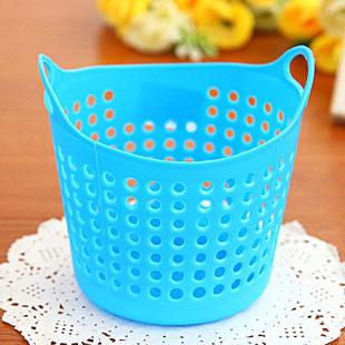 TwinS桌面多用塑膠圓形洞洞迷你收納籃雜物藍小垃圾筒顏色一律隨機