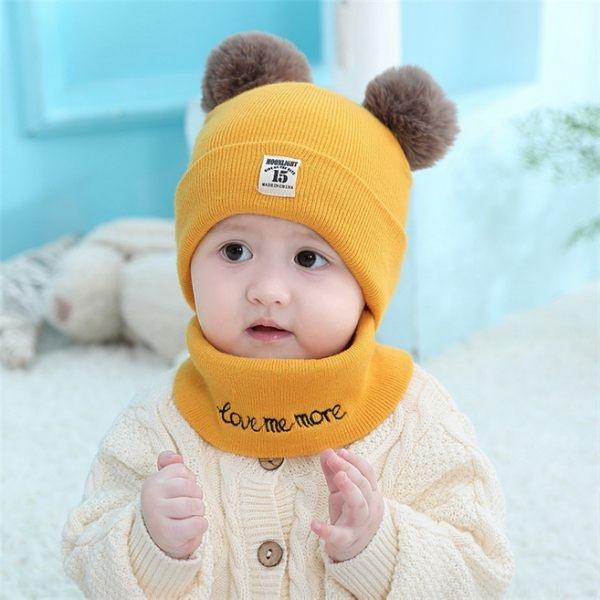 【拼團】寶寶針織圍脖毛球帽(6-36個月) 嬰兒帽+圍脖 毛線帽