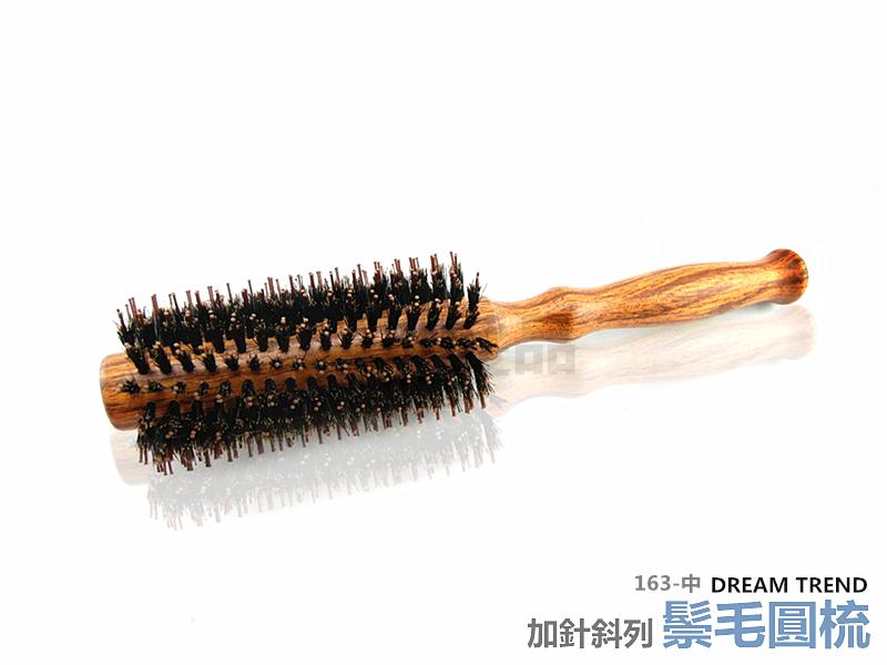 【DT髮品&彩妝】專業級 純鬃毛加針斜列圓梳 (中) 豬鬃毛 台灣製造
