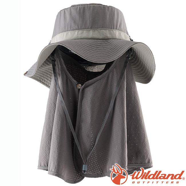 Wildland荒野W1033-93深灰中性抗UV調節式遮陽帽防曬工作帽登山健行休閒帽遮臉大圓盤帽