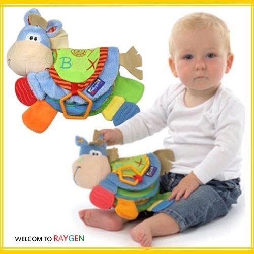 小驢牙膠動物布書多功能認知益智玩具響紙BB器