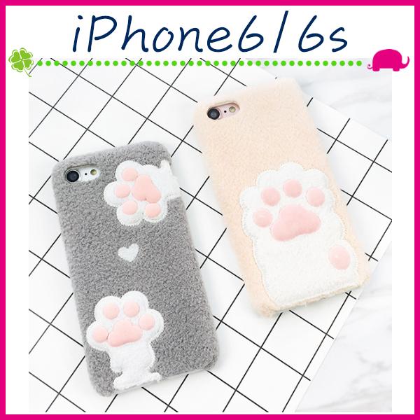 Apple iPhone6 6s 4.7吋Plus 5.5吋毛絨貓掌背蓋可愛貓爪手機殼PC保護套立體手機套秋冬款保護殼