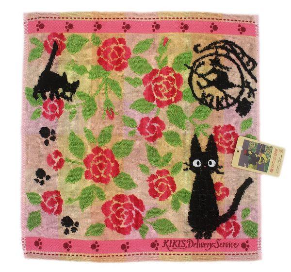 【卡漫城】日本限定 製造 Kiki 小方巾 ㊣版 刺繡 小毛巾 童巾 洗臉巾 擦手巾 黑貓 魔女宅急便 JiJi