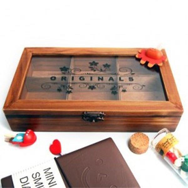創意復古木盒壓克力透明蓋6格珠寶盒首飾盒鄉村風木質收納盒大SV9527 BO雜貨