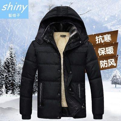 【Y995】shiny藍格子-實穿時尚.冬裝加絨加厚棉襖保暖連帽外套