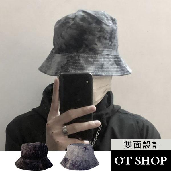 [現貨]帽子 漁夫帽 水桶帽 盆帽 遮陽帽 中性男女 可雙面戴 渲染水墨 街頭風 黑/灰色 C2120 OT SHOP