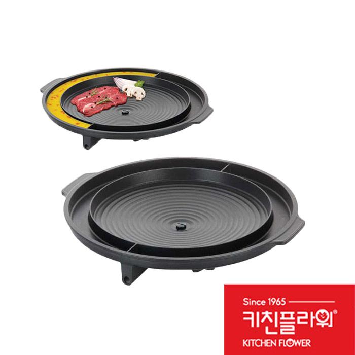 韓國Kitchen Flower 37cm烤肉盤壽喜燒鍋圓形烘蛋盤大理石不沾塗層鍋韓式烤盤韓式烤肉盤