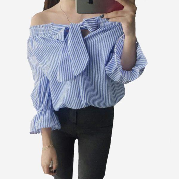 一字領露肩蝴蝶結飾泡泡棉直條五分袖上衣  [黑 藍] 兩色售