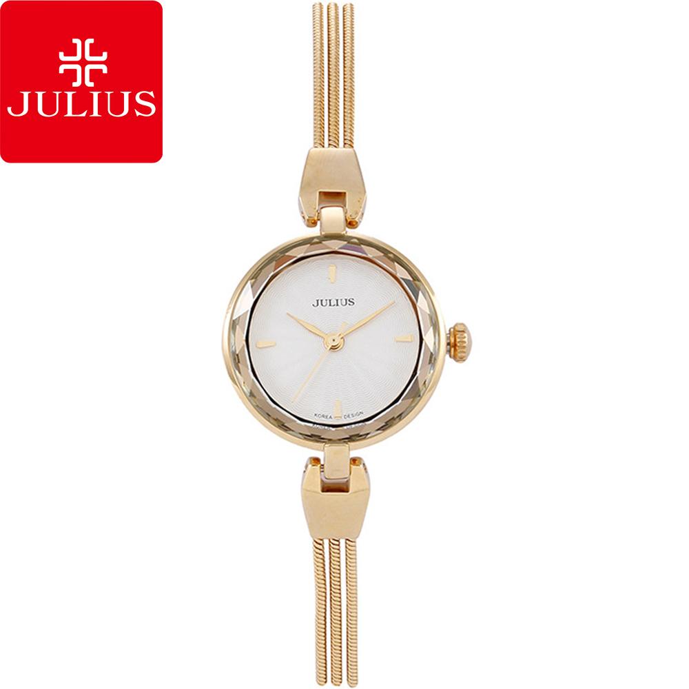 JULIUS聚利時艾莉兒的海螺貝殼面鍊飾腕錶-金色25mm JA-717C