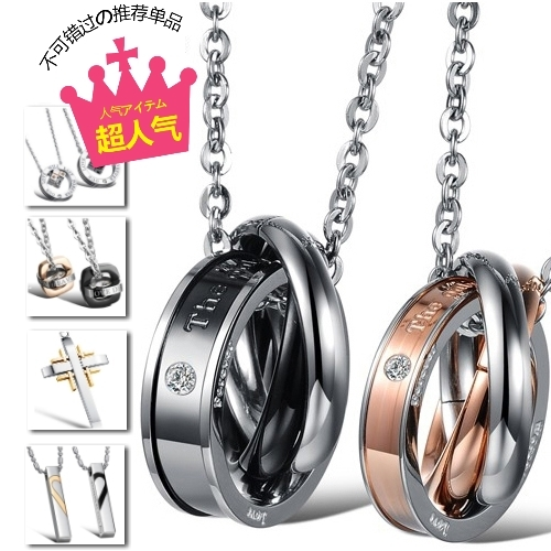 潮段班SWALL003鈦鋼項鍊情侶對鍊情侶項鍊不鏽鋼愛心鑽石八心玫瑰拼圖心鎖骰子船錨雙環