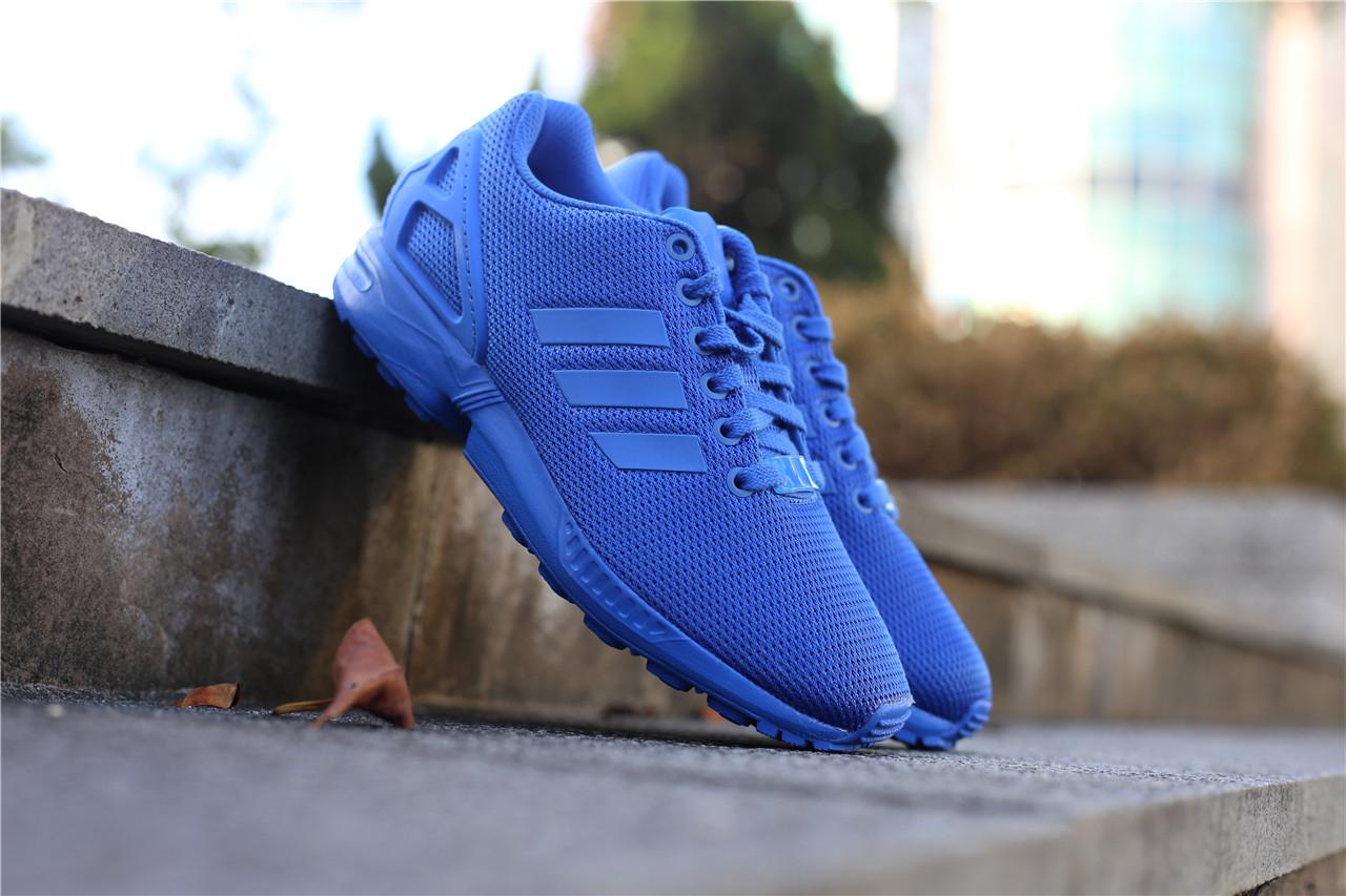adidas休閒慢跑鞋ZX Flux全藍藍色經典款男鞋女鞋情侶鞋布魯克林2016 8月S32280