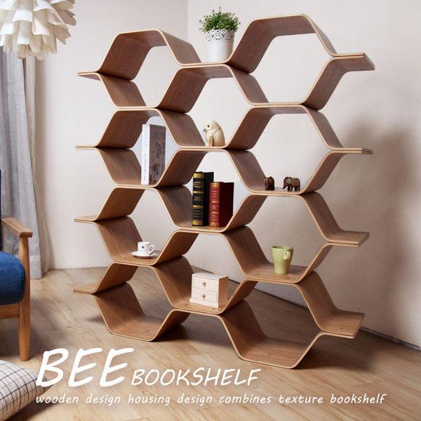 收納櫃 書架 陳列架 隔間櫃  自然木作蜂巢式四層屏風櫃/質感推薦【H&D DESIGN 】