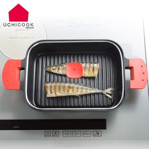 雙喬國際《逸品軒》UCHICOOK第二代日本製水蒸氣式健康蒸煮燒烤盤[玻璃蓋]-紅  UCS16RD *六期零利率*