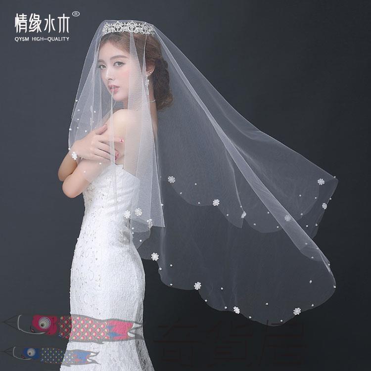 新娘頭紗婚紗配件韓式花朵短款