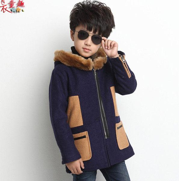 衣童趣 ♥韓版時尚型男 童裝 加厚長版外套 拼接口袋拉鍊外套 毛毛帽子帥氣百搭 【現貨】