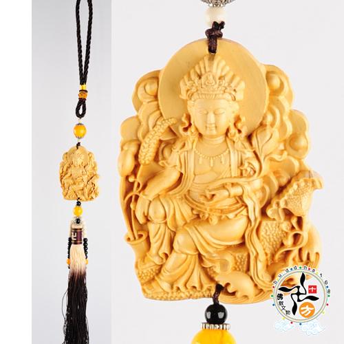 自在觀音黃陽木掛飾平安小佛卡十方佛教文物