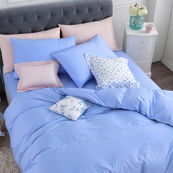 質感素色天空藍單人加大床包3.5x6.2經典無印細緻亮澤100精梳棉眠之初