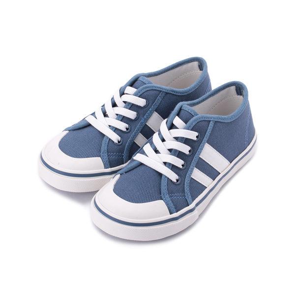 OYEAH 套式假綁帶帆布鞋 藍 中大童鞋 鞋全家福