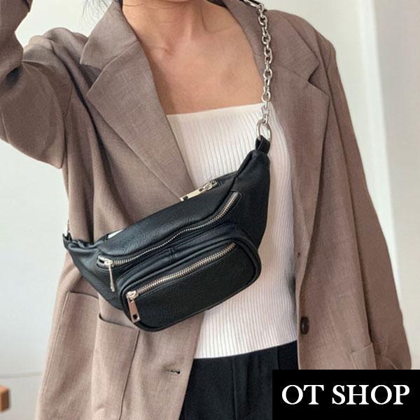 [現貨] 包包 側肩背 斜肩背 腰包 胸包 鍊帶 復古文青 率性個性黑色質感皮革 H2027 OT SHOP