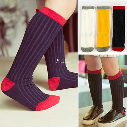 拼色羅紋坑條長襪 童襪 棉感襪 拚色長襪