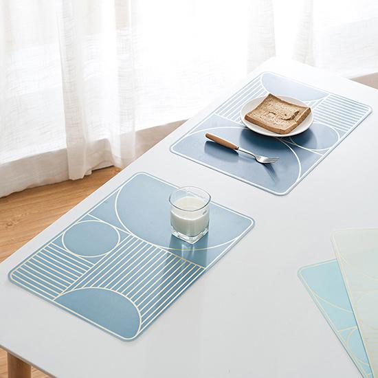 米菈生活館N343簡約幾何防水餐桌墊居家廚房衛生防潮鋪墊桌墊防熱墊創意
