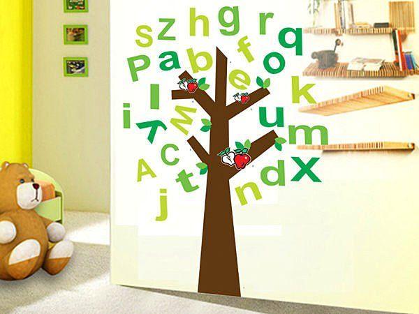 BO雜貨YV3013創意壁貼牆貼壁紙壁貼磁磚貼兒童房卡通貼紙英文字母樹