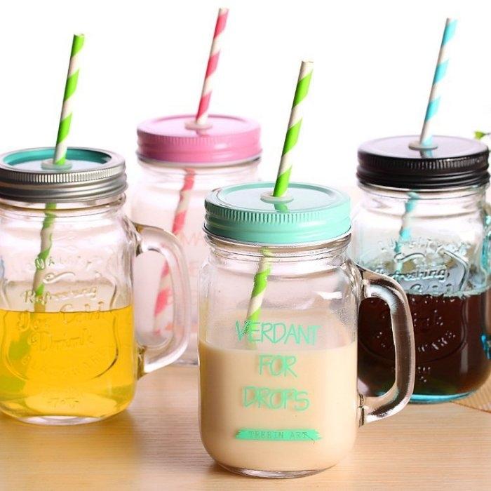 限時下殺99元復古玻璃把手杯梅森罐頭瓶字母吸管水杯奶茶果汁杯浮雕設計梅森杯梅森瓶