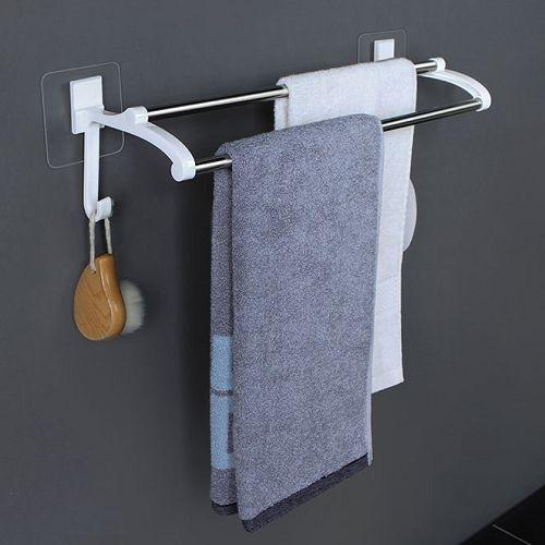免打孔浴室雙桿毛巾架 (40cm) 不銹鋼浴巾架