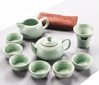 汝窯茶具套裝全套汝瓷整套陶瓷功夫茶具套裝蓋碗茶杯茶壺LVV5952【大尺碼女王】