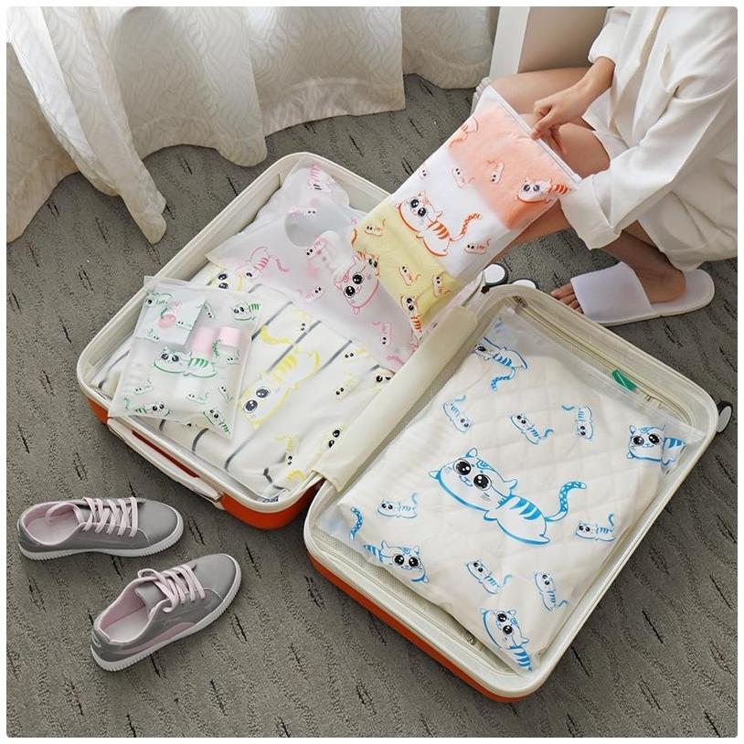 【貓咪夾鏈袋中號】旅行防水套 收納袋 衣物內衣鞋子洗漱保養品收納包  分裝袋 密封袋 封口袋