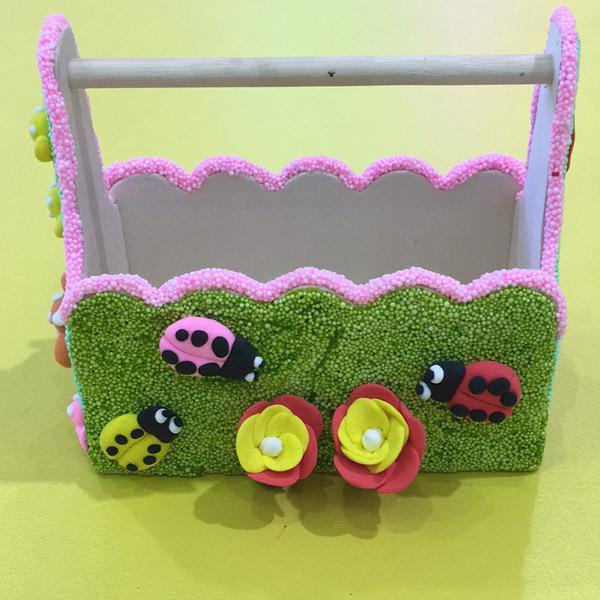 兒童手工diy制作材料包雪花泥木質小籃子12色雪花泥3件套工具預購CH535