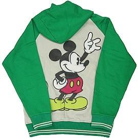 波克貓哈日網連帽運動外套迪士尼圖案仿噴畫質感綠色~日本原廠迪士尼授權