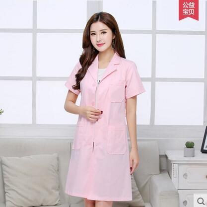 半永久韓版白大褂短袖醫生服女護士服夏裝長袖美容服紋繡師工作服粉色短袖