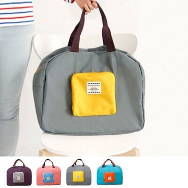 韓版撞色款摺疊單肩收納袋購物袋4色-灰色