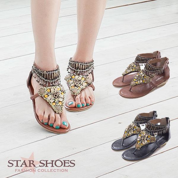 STAR SHOES-民族風串珠繞踝羅馬夾腳小坡跟涼鞋