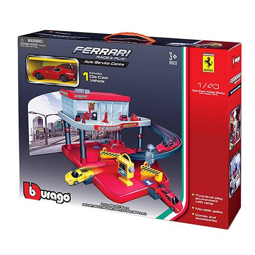 限時特價《 Bburago 》1 / 43 法拉利停車場組 ( 附一車) ╭★ JOYBUS玩具百貨