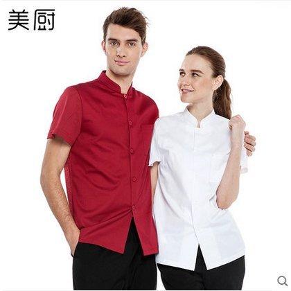 廚師服短袖夏裝廚房西餐廳酒店廚師服男女網布透氣廚師服2色YK408