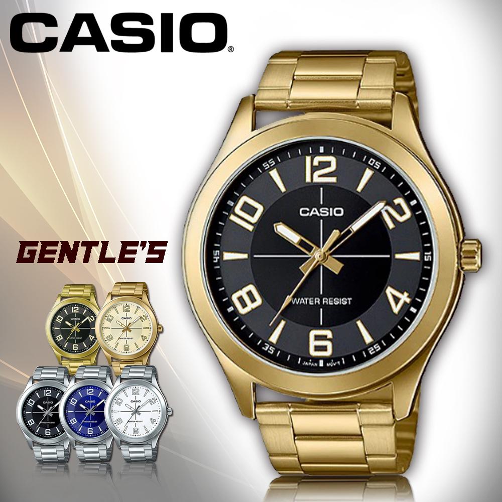 CASIO手錶專賣店CASIO手錶MTP-VX01G-1B男錶指針錶金色離子鍍錶帶防水礦物玻璃