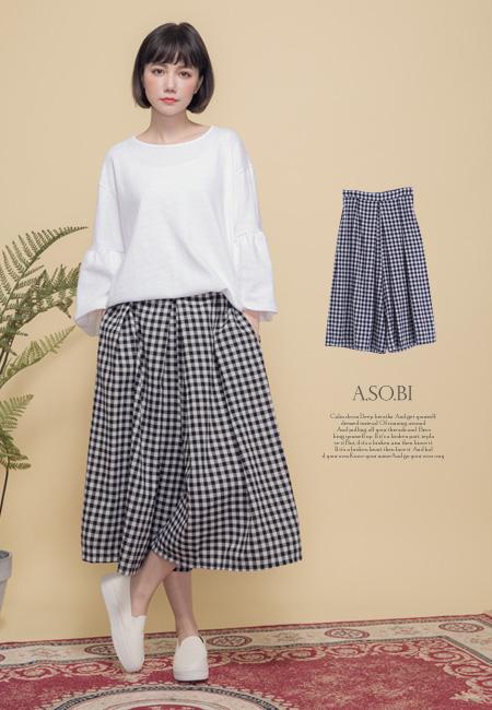 A-SO-BI韓系-古著感腰後彈性配色格紋寬褲裙【R70062-04】
