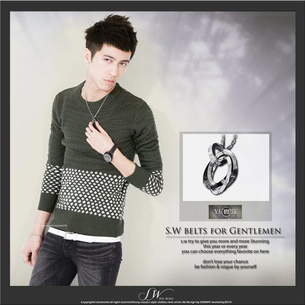 SW韓國專櫃精品都會時尚感質感三環水鑽墜鈦鋼鍊雅痞K81108