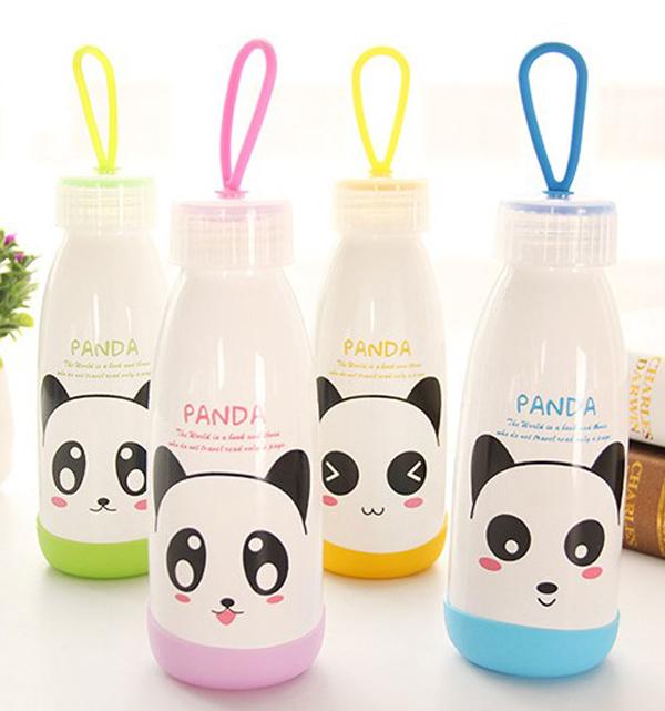 杯具人生第2件1折BlueCat純白系貓熊大紅唇白色玻璃瓶水壺隨身杯300ml