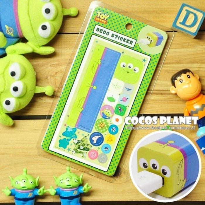 迪士尼裝飾貼紙玩具總動員三眼怪IPHONE豆腐充貼紙插頭貼紙COCOS PL055