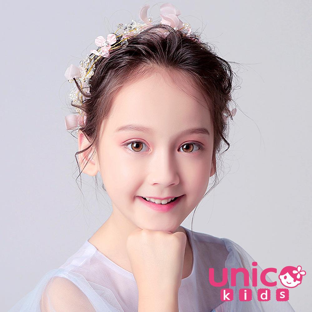 UNICO 兒童 夢幻甜美粉系小花童花環頭飾/髮飾