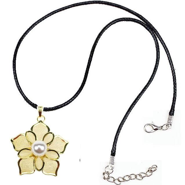蕾絲鍍金珍珠鏤空花朵項鍊墜子皮繩毛衣鍊-艾發現
