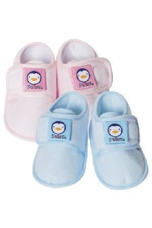 藍色企鵝繡花寶寶鞋